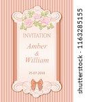 vector vintage wedding... | Shutterstock .eps vector #1163285155