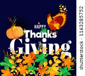 happy thanksgiving day... | Shutterstock .eps vector #1163285752