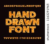 hand drawn alphabet font.... | Shutterstock .eps vector #1163291965
