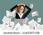 young stressed woman have no... | Shutterstock .eps vector #1163297158