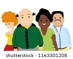 group of obese people on a... | Shutterstock .eps vector #1163301208