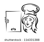 waiter with blank menu for... | Shutterstock .eps vector #116331388