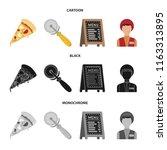 a pizza cutter  a slice  a menu ... | Shutterstock .eps vector #1163313895