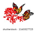 watercolor colorful butterflies ... | Shutterstock . vector #1163327725