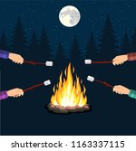 bonfire with marshmallow  stone ... | Shutterstock .eps vector #1163337115