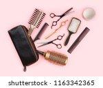 hair dresser tool set with... | Shutterstock . vector #1163342365