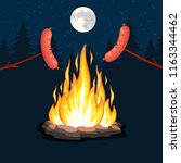 bonfire with grill sausage ... | Shutterstock .eps vector #1163344462