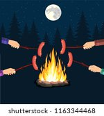bonfire with grill sausage ... | Shutterstock .eps vector #1163344468