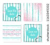 wedding invite set with glitter ...   Shutterstock .eps vector #1163345332