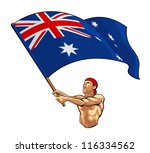 australian fan waving flag | Shutterstock .eps vector #116334562