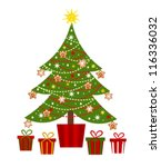 decorated christmas tree and... | Shutterstock .eps vector #116336032