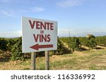 """Sign at a vineyard with the french text ""Vente vins""that means sale of wine - stock photo"