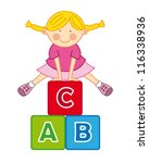 little girl playing with blocks ... | Shutterstock .eps vector #116338936