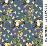 exotic pattern with cute toucan ... | Shutterstock .eps vector #1163397388