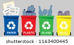 four selective waste bins for ... | Shutterstock .eps vector #1163400445