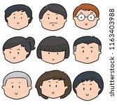 vector set of cartoon face | Shutterstock .eps vector #1163403988