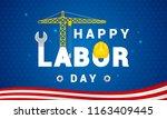 happy labor day banner vector...   Shutterstock .eps vector #1163409445