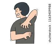 vector of man scratching back | Shutterstock .eps vector #1163409988