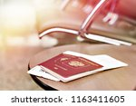 passports and tickets for... | Shutterstock . vector #1163411605