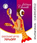 illustration of indian lady...   Shutterstock .eps vector #1163414512