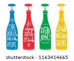 wine puns. vector set of four... | Shutterstock .eps vector #1163414665