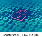 data secure concept  red closed ... | Shutterstock .eps vector #1163415688