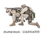 army machine gunner in combat... | Shutterstock . vector #1163416555