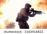 silhouette of modern infantry... | Shutterstock . vector #1163416822