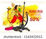 illustration of goddess durga... | Shutterstock .eps vector #1163422012