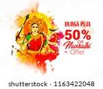 illustration of goddess durga... | Shutterstock .eps vector #1163422048