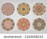 decorative round ornaments set  ... | Shutterstock .eps vector #1163428222