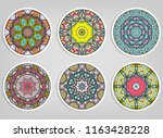 decorative round ornaments set  ... | Shutterstock .eps vector #1163428228