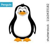 ute penguin on a white... | Shutterstock .eps vector #1163435182