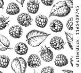 raspberry seamless pattern.... | Shutterstock .eps vector #1163439745