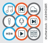 multimedia icons set with music ...