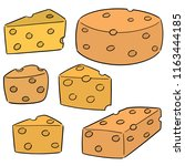 vector set of cheese | Shutterstock .eps vector #1163444185