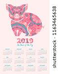 calendar 2019. pig is a symbol... | Shutterstock .eps vector #1163465638