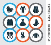 garment icons set with suit ...   Shutterstock . vector #1163486368