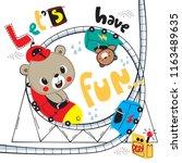 cute teddy bear cartoon riding... | Shutterstock .eps vector #1163489635