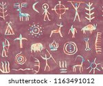imitation of drawing in a cave... | Shutterstock . vector #1163491012