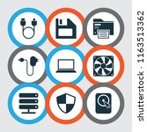 gadget icons set with charger ... | Shutterstock .eps vector #1163513362