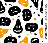 halloween seamless pattern with ... | Shutterstock .eps vector #1163516422