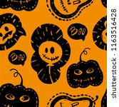 halloween seamless pattern with ... | Shutterstock .eps vector #1163516428