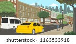 woman calling a taxi in the... | Shutterstock .eps vector #1163533918