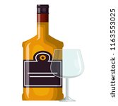 whiskey bottle with cup | Shutterstock .eps vector #1163553025