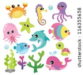 Stock vector baby sea creatures 116355658