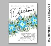blue poinsettia christmas party ... | Shutterstock .eps vector #1163562085