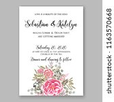 wedding invitation peach soft...   Shutterstock .eps vector #1163570668