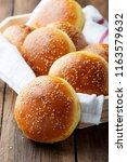 fresh homemade burger buns with ...   Shutterstock . vector #1163579632