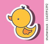 yellow rubber duck toy on pink... | Shutterstock .eps vector #1163591392